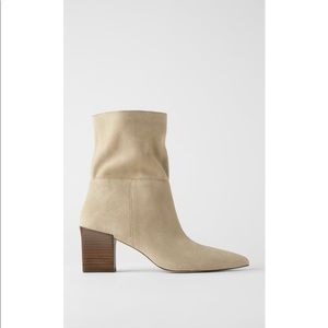Zara | New Women's Sand Leather Ankle Boots